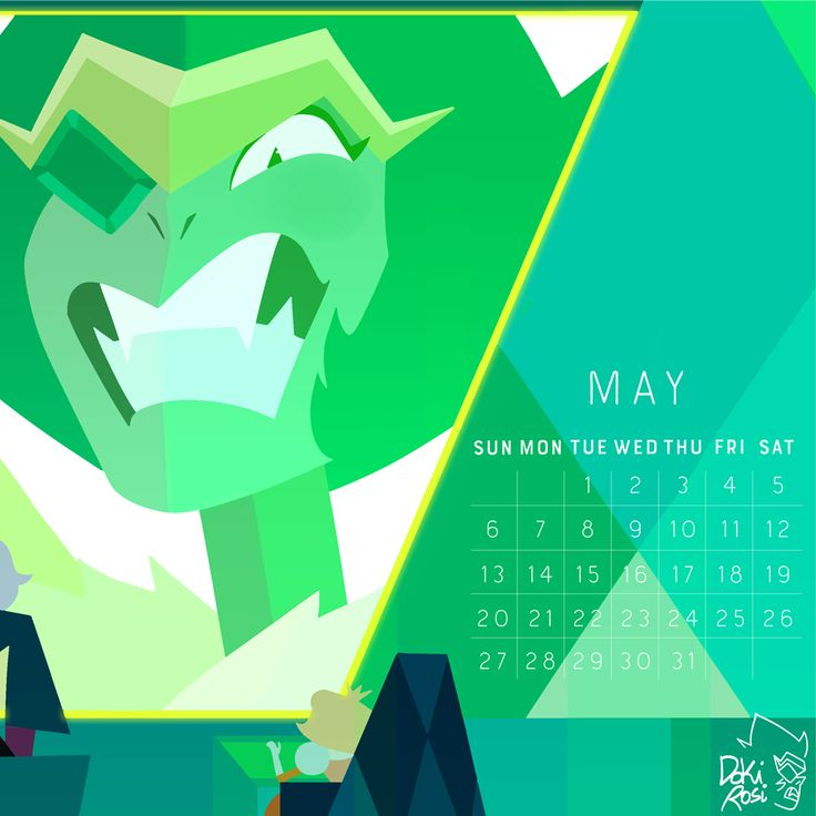 ☄️ 2018 Calendar ☄️ the birthstone of May: Emerald! May facts: may 21st is the day when the Pilot Episode of Steven Universe came out and look how far we are! 5 seasons, multiple songs and so many...
