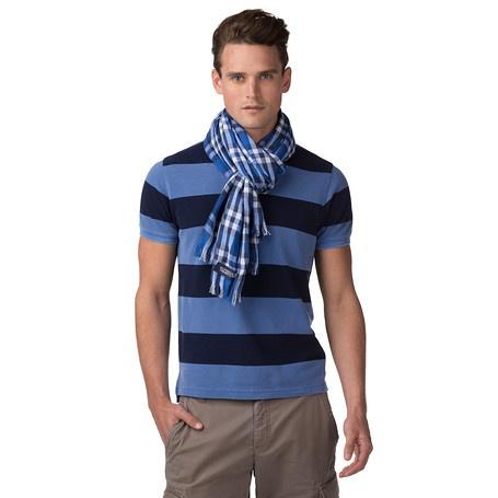 Luchtige sjaal in puur katoen. Draag 'm op een overhemd of blazer voor een nonchalante look. Preppy ruitpatroon met korte franje en Hilfiger logo.