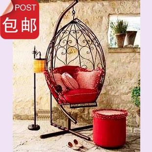 Rustic fashion iron chair rattan hanging basket chaise lounge single swing casual outdoor rocking chair $529.59
