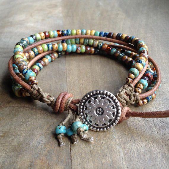 Boho Leather Wrap Bracelet Hippie Girl