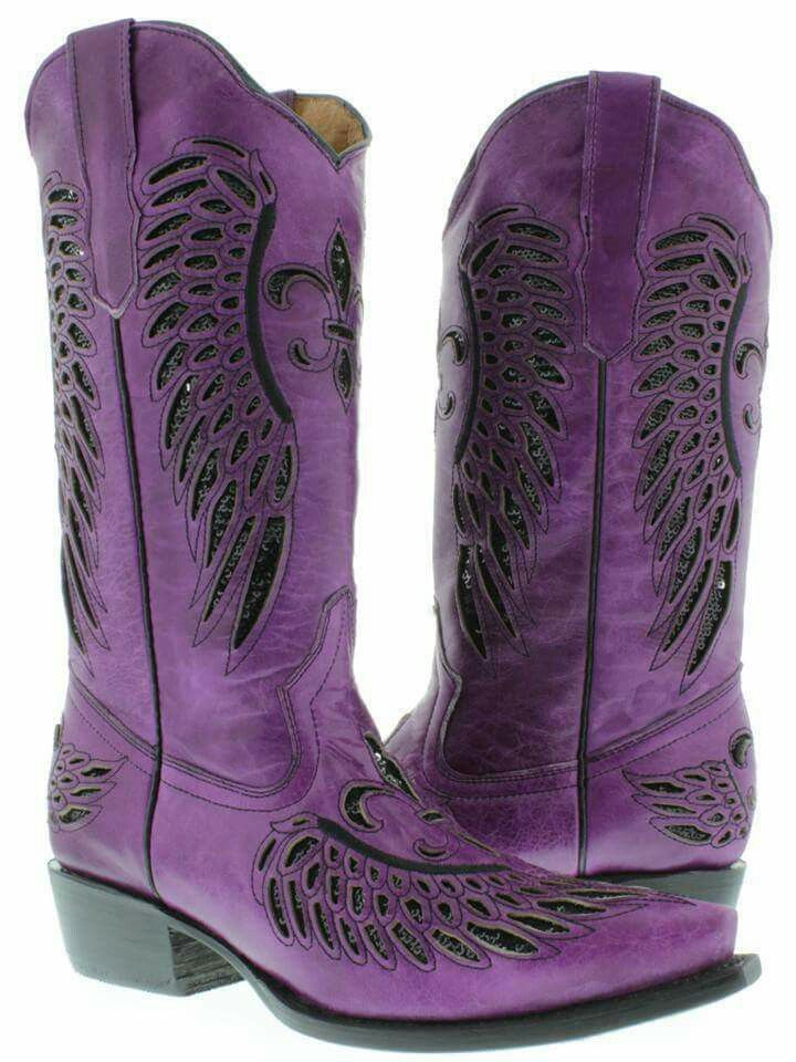 6433a2970e Women s ladies purple leather sequins cowboy boots western riding biker  rodeo