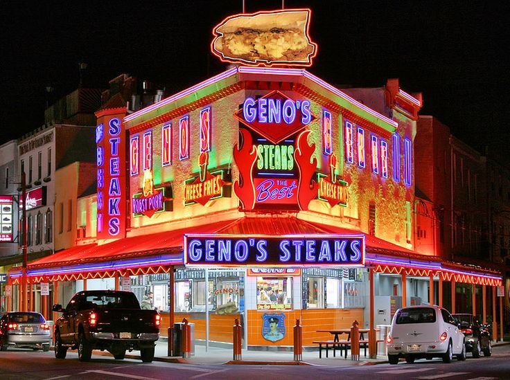 Geno's Steaks South Philadelphia, one of the cheese steak institutions in Philly across the street from Pat's steaks where they have had a friendly rivalry for decades. #AmericaBound @Earthbound Farm #EastBound