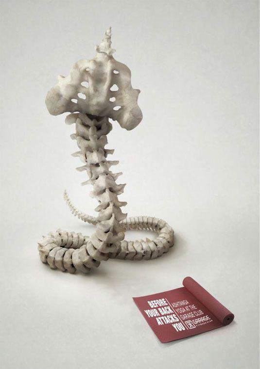 "Garage Fitness Club: Cobra ""Before your back attacks you."" Agency: McCann Erickson, Tel Aviv, Israel"