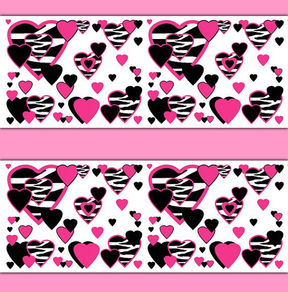 Hot Pink Zebra Heart Wallpaper Border Decals Animal Print For Teen Girls  Bedroom. Abstract And Modern Art Home Decor. Use As Wall Border Or Decals.