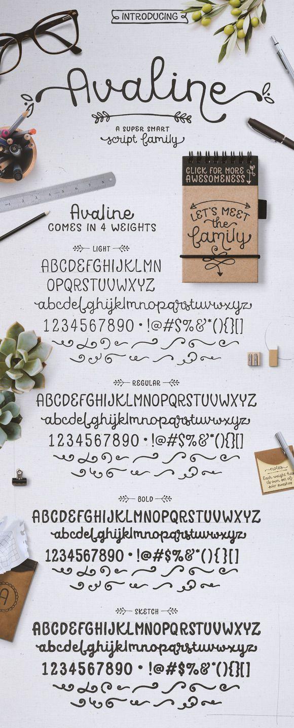 Avaline Script Family + BONUS Extras by Kimmy Design on @creativemarket