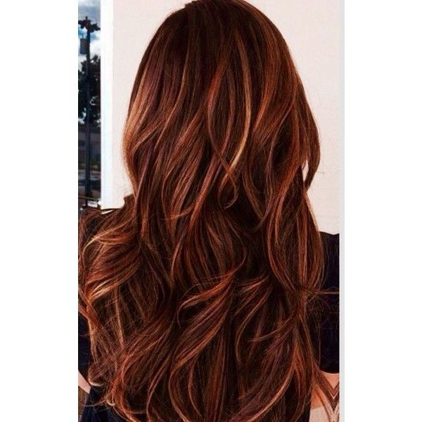 48 Copper Hair Color For Auburn Ombre Brown Amber Balayage and Blonde... ❤ liked on Polyvore featuring beauty products, haircare and hair