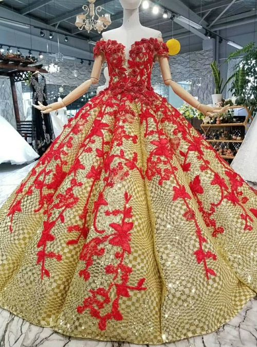 e0a3d03ac27 Gold Ball Gown Sequins And Red Appliques Off The Shoulder Wedding ...