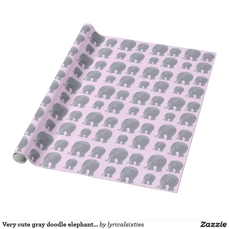Very cute gray doodle elephant on pink wrapping paper