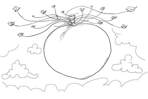 Seagulls Carrying James and the Giant Peach coloring page from James and the giant peach category. Select from 20946 printable crafts of cartoons, nature, animals, Bible and many more.