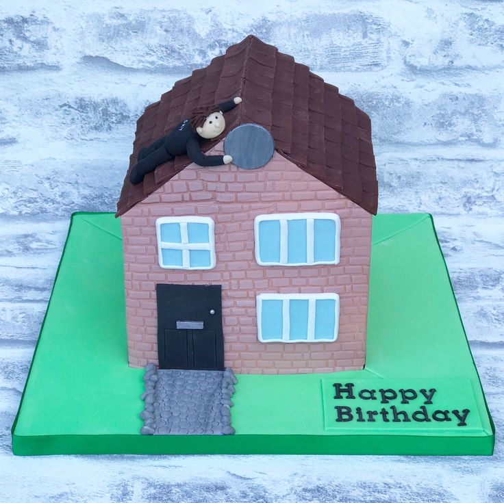 Hand carved house shaped cake with Sky TV engineer on the roof