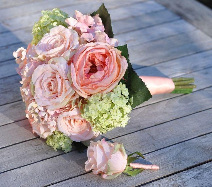 Garden Rose And Hydrangea Bouquet garden rose and hydrangea bouquet white bridal d throughout decor