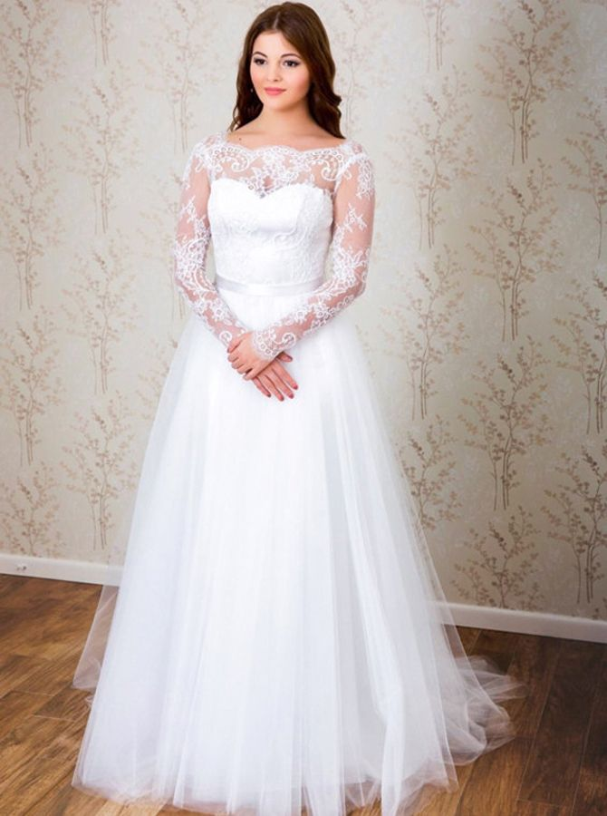 Simple Wedding Dress With Long Sleeves Open Back Bridal Dress 11651 Cheap Wedding Dress Long Wedding Dresses Plus Size Bridal Dresses,Older Brides Mature Wedding Dresses For Brides Over 50