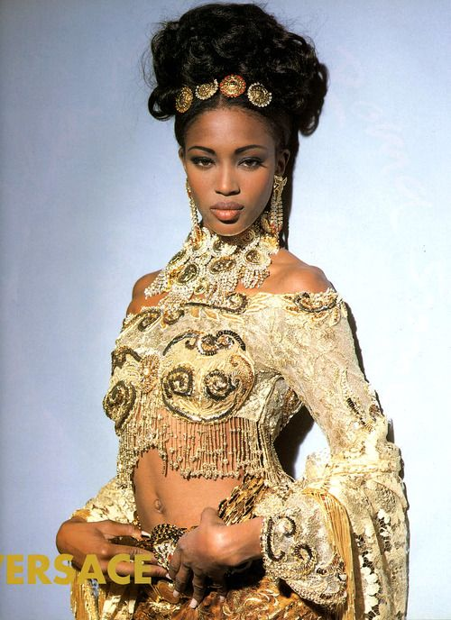 cultofmaia:  A young Naomi Cambell wearing Gianni Versace. Gold lace, sequins and rhinestones, Gianni Versace was the king of over the top. Merging fantasy and reality, some may even say tacky but I love him! X
