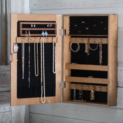 Distressed Wall Mount Mirrored Locking Jewelry Armoire