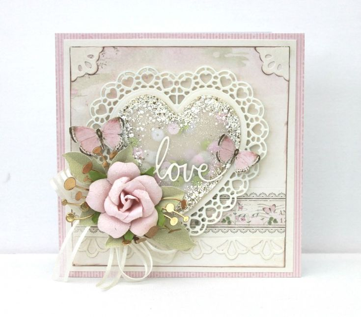 card with heart and rose, leaves and butterfly scripty love memorybox die - shabby chic vintage -  Johanna rosahjärta