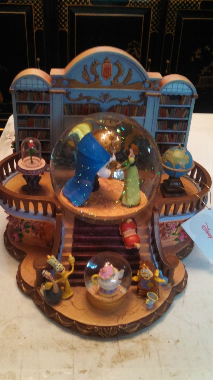 Disney Store Beauty and Beast Library Musical Snow Globe Retired RARE | eBay