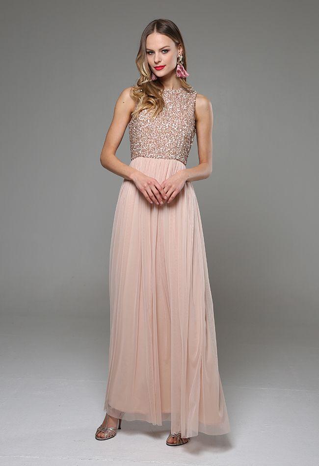 8ab26e26855 Μάξι φόρεμα τούλινο με κεντημένο μπούστο, εσωτερική υφασμάτινη επένδυση,  κλείσιμο με φερμουάρ στο πίσω μέρος, κανονική εφαρμογή.