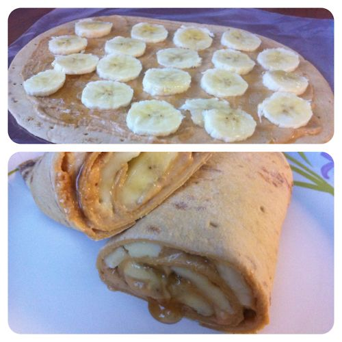 Peanut Butter, Banana & Honey Wraps  This morning I had to be at work by 8, which means we needed to leave the house by 7, which means I had to be done with my run and start getting ready by 6.15, which means I didn't have time for breakfast. But since starting WW, I make sure to NOT miss breakfast. So today I just postponed it a little. I packed up stuff to make a yummy breakfast at work before we headed out the door.  This wrap was so good! I saw THIS pin on Pinterestand knew I ne