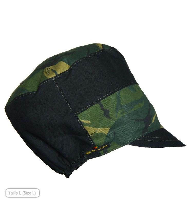 CAMO BLOCK : Camouflage print Rasta Cap.  Visit us at www.hatafaya.com for a large choice of handmade Rasta Crowns, Hats for dreadlocks, and Dread caps,  Chapeaux, casquettes et bonnets Rasta faits main et sur commande.  #hat #handmade #rastafari #rasta #dreadlocks #dread #locks #locs #naturalhair #accessories #care #fashion #clothing #hairstyle #hat #chapeau #crown #headwrap #headcovering #tam #cap #casquette #streetwear #roots