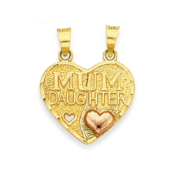9ct Gold Two Tone 'Mum Daughter' Heart Share Pendant