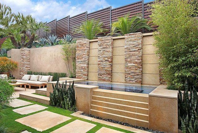 Sandstein-Trittsteine-moderne Garten Ideen-Wasserspiele- als Sichtschutz