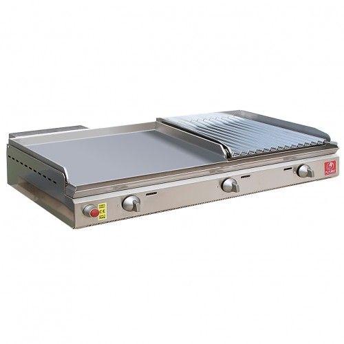 grill inox 26 x 40 cm + Plancha à gaz inox lisse 55 x 40 cm