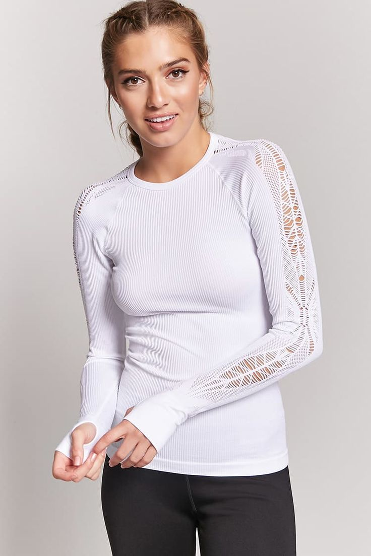 J2017  Active Ribbed Open-Knit Top