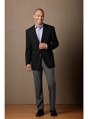 Black Sport Coat, Grey Slacks, No Tie | Men's Wardrobe ...
