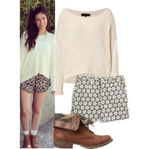 This is a bethany mota outfit and it's cute and easy just a sweater and shorts