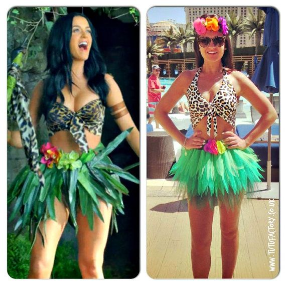 Katy Perry inspired neon Tutu Set  Roar Costume Outfit Leopard Halter Neck Top Jungle Tutu Queen