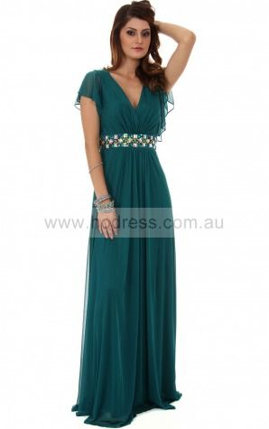 Chiffon V-neck Natural A-line Floor-length Bridesmaid Dresses 0740250--Hodress