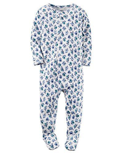 Carter's Baby Girls' Snug Fit Cotton Footie Pajamas (18 Months, Blue Green Floral Print)