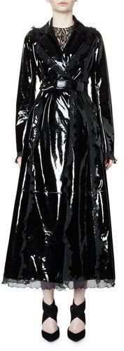 Lanvin Belted Patent-Leather Trench Coat W/Ruffle Trim, Black