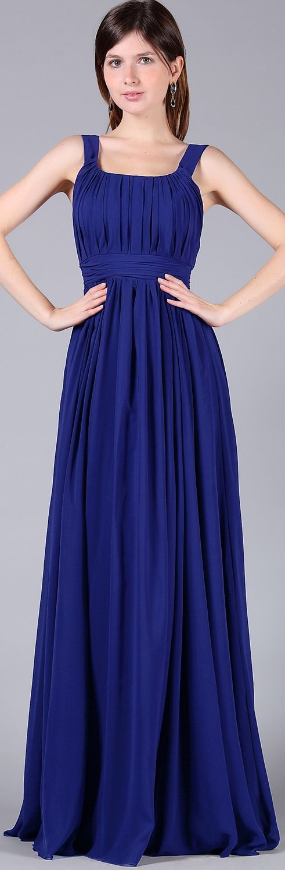 Blaues Abendkleid lang mit Traeger Brautjungfernkleid