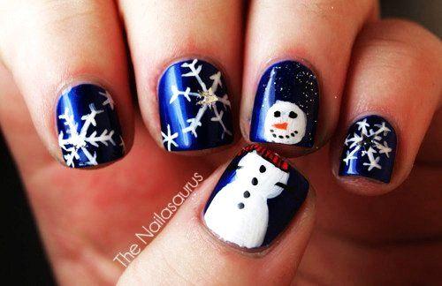 Christmas Nail Art: Snow & Snowman Designs - Cute Cartoon Snowman Christmas Nail Art - Blue Snowman Christmas Nail Art