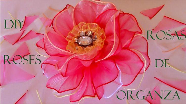 DIY rosas matizadas en cintas de organza - organza roses Ribbons