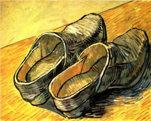 A pair of Leather Clogs- By: Vincent Van Gogh | Artist: Vincent van Gogh Completion Date: 1888 | Place of Creation: Arles-sur-tech, France | Style: Post-Impressionism | Genre: Still Life | Technique: Oil | Material: Canvas | From: wikipaintings.org