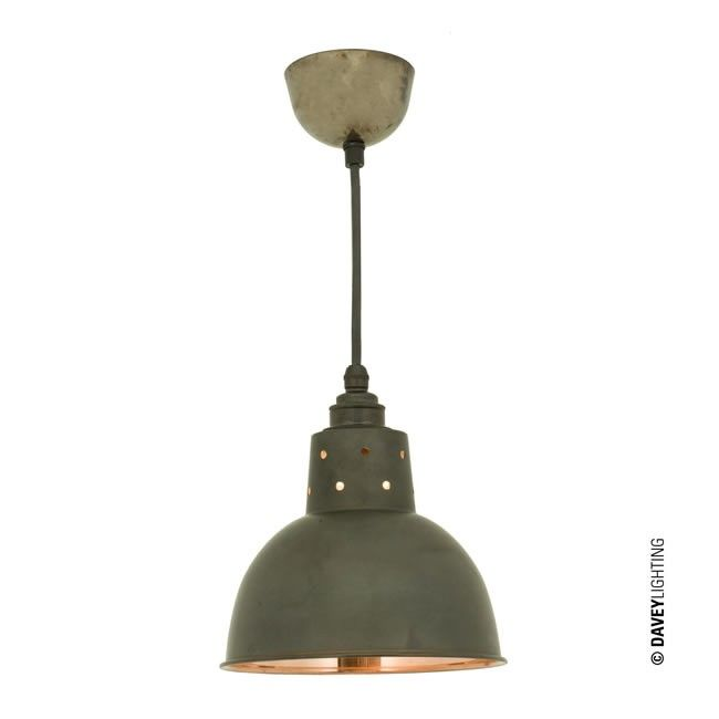 Spun Reflector Cord Grip 7165 Polished Weathered Copper Pendant Light By Davey Lighting