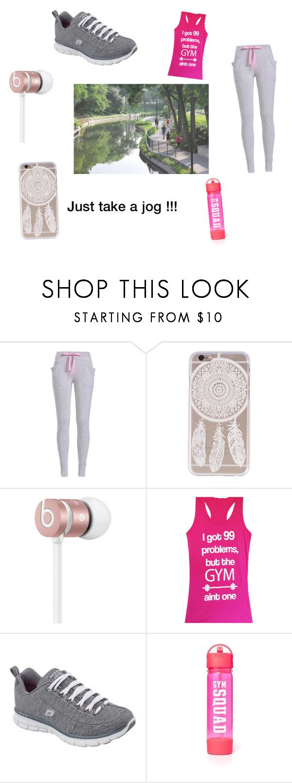 """For those jogging people !!!"" by mikayla8h ❤ liked on Polyvore featuring Beats by Dr. Dre, Skechers and Victoria's Secret"