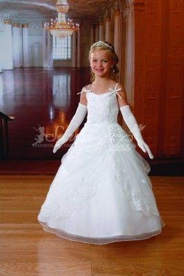 Vestido de comunión Virginia, Confeccionado en Satén y organza.