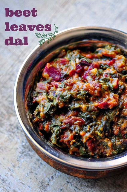 Beetroot Leaves Dal - Masoor Dal Recipe with Beet Leaves