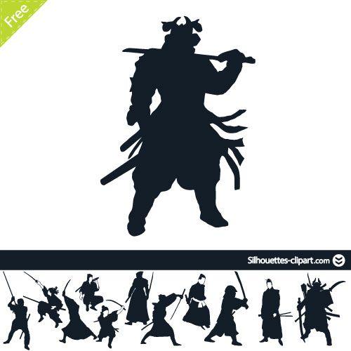 Samurai warriors vector silhouettes | silhouettes clipart ...