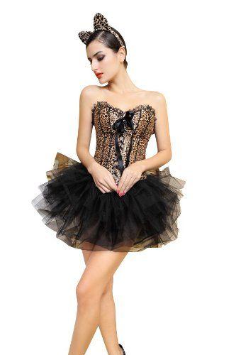 Damen Sexy Leopard Corsagen-Kleid Kostüm zu Karneval, Halloween & Fasching | ca €36