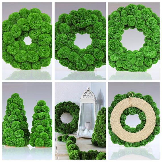 Pom Pom Wreath, Christmas Wreath, Green Wreath, Front Door Wreath, Green Home Decor, Fluffy Wreath, Pompom Wreath, Xmas Ornament, Xmas Decor