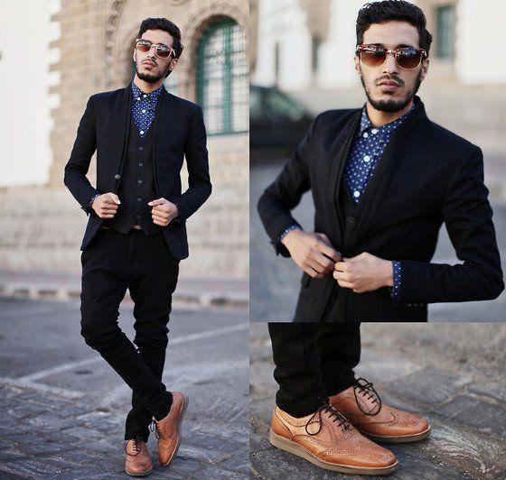 С чем носить мужчине коричневые ботинки