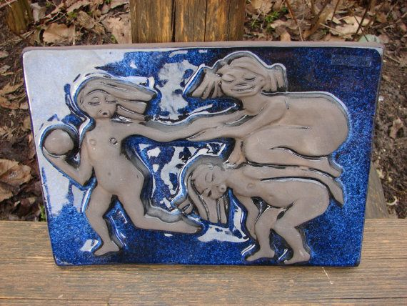 JIE Gantofta Sweden Elsi Bourelius Wall Hanging ceramic Plaque 923 / blue glazed Art Pottery Tile with naked Girls / Elsi for Jie Gantofta