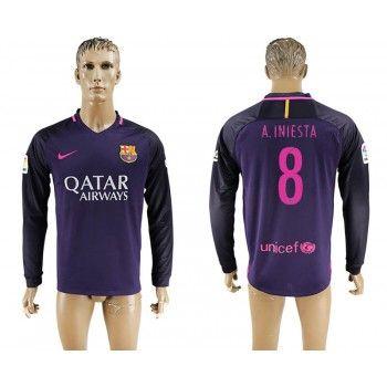 Barcelona 16-17 Andres Iniesta 8 Bortatröja Långärmad   #Billiga  #fotbollströjor