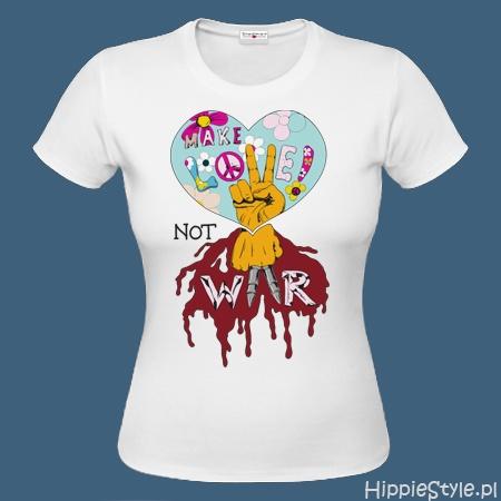 koszulka T-shirt biała MAKE LOVE NOT WAR