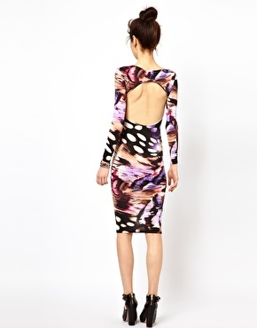 Oh My Love Print Body-Conscious Midi Dress