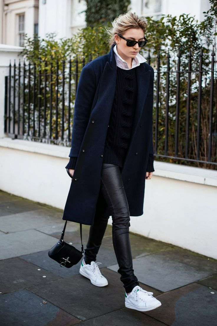 Adidas Stan Smith // winter style /// navy blue oversized wool coat //  white collar shirt with black sweater // black leather pants // white  sneakers